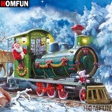 HOMFUN Full Square/Round Drill 5D DIY Diamond Painting Train snow scenery 3D Embroidery Cross Stitch Home Decor A21378