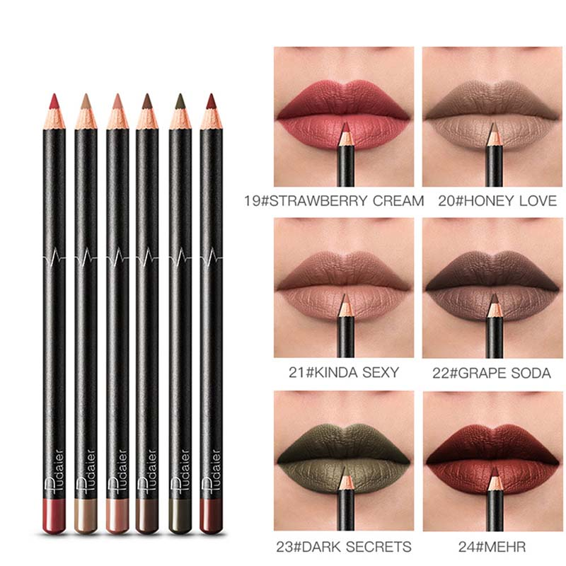 36 Color <font><b>Makeup</b></font> <font><b>Lip</b></font> Liner Waterproof Durable Non-marking <font><b>Lip</b></font> Liner <font><b>Makeup</b></font> Matte <font><b>Lip</b></font> Liner <font><b>Lipstick</b></font> Pen 6 Pcs/<font><b>set</b></font> image