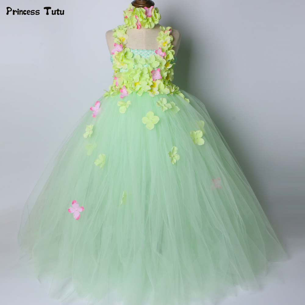 Light Green Flower Girl Tutu Dress Children Kids Wedding Birthday Party Dress Girls Ball Gown Tulle Flower Fairy Princess Dress cute green princes puffy tutu dress children girls ball gown dress add multilayer flowers handmade tutu dress for wedding party