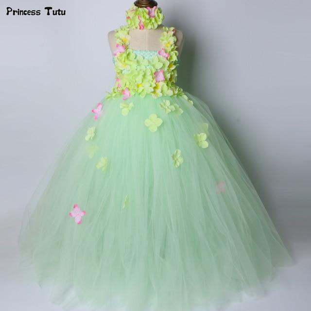 fdb63356749 Light Green Flower Girl Tutu Dress Children Kids Wedding Birthday Party  Dress Girls Ball Gown Tulle Flower Fairy Princess Dress