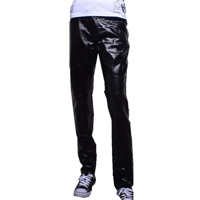 2016 spring and autumn new men's fashion trend of casual Korean Slim wild simple solid color skinny PU XL leather pants