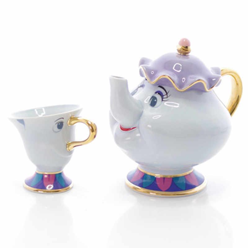 Промо-акция! Мультяшная Красавица и Чудовище чайный сервиз Миссис Поттс чайный горшок чашка чип сахарница Cogsworth горшок набор кофе подарок на день рождения Рождество