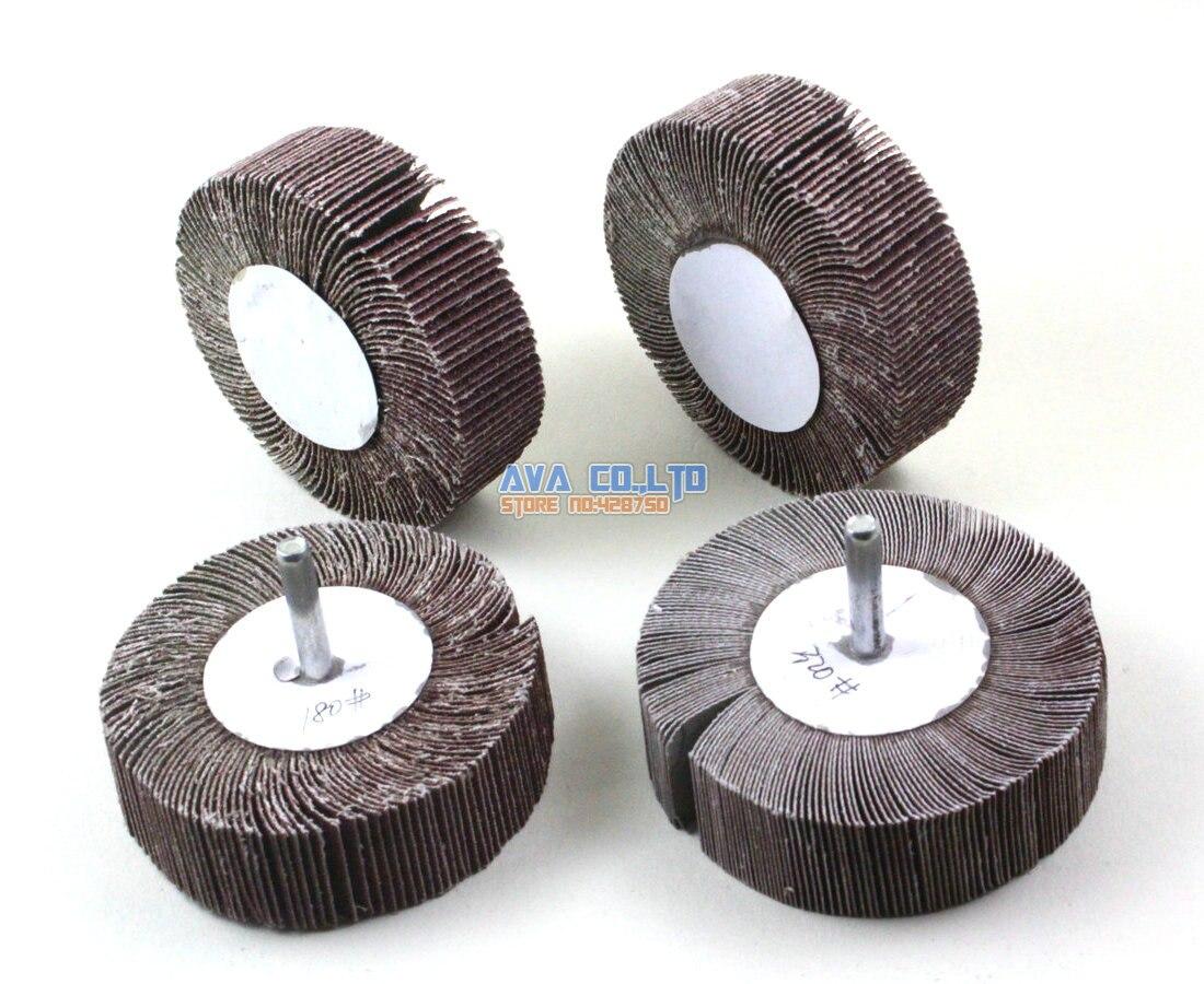 En métal 30 mm Tige roues à lamelles abrasives montées Brosse Bit 5 pièces
