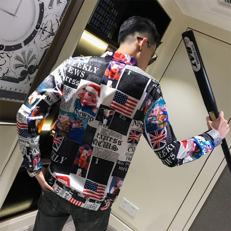 Men Clothes 2019 Autumn Newspaper Print Shirt Men Long Sleeve Loose Mens Casual Shirts Streetwear All Match Chemise Homme 3XL-M