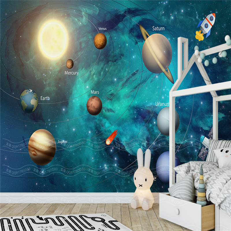 Custom Large 3D Murals Space Universe Wallpapers for Children's Room Starry Sky Planet Wall Papers 3D Stereoscopic Home Decor personality custom wallpaper 3d stereoscopic feather murals white non woven wallpapers wall papers for living room home decor