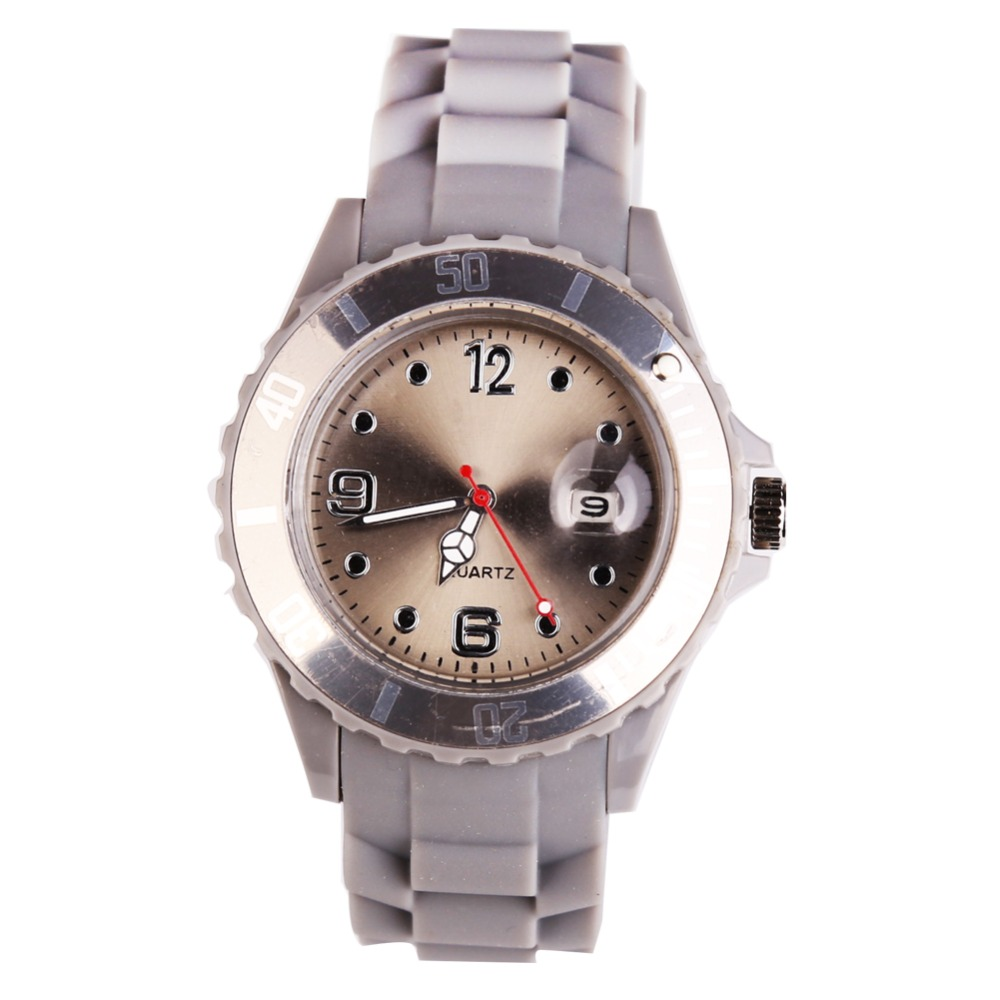 Quartz Watch Grey Candy-Color Female Silicone Clock Fashion Kol Mujer Sport Saat Reloj title=