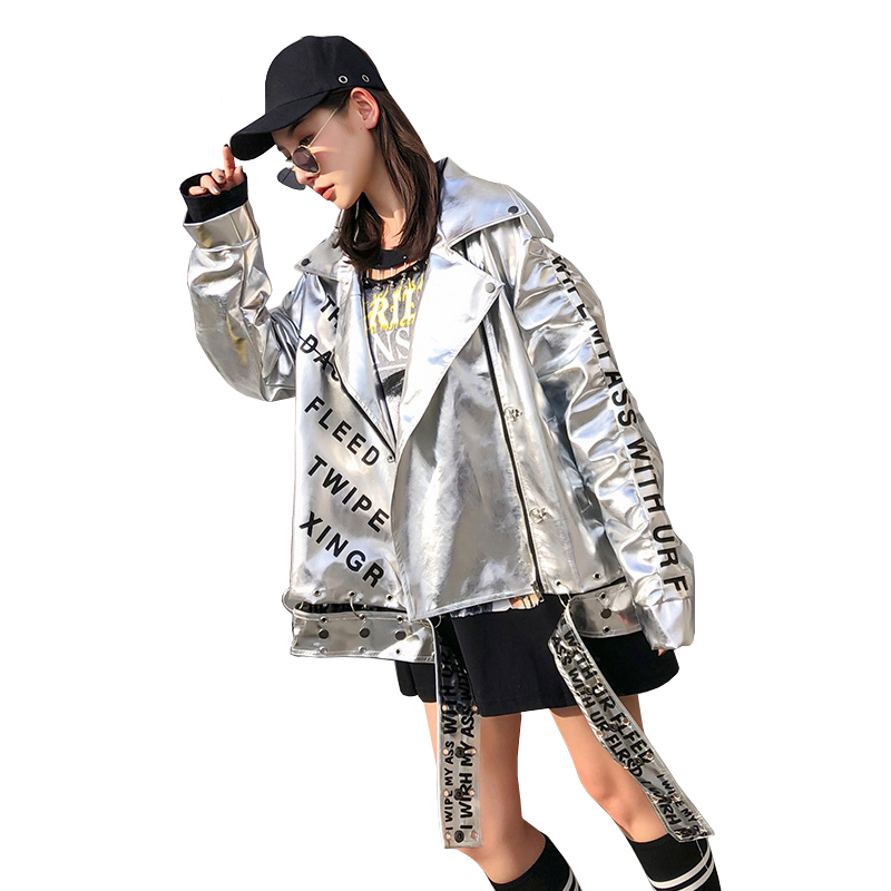 Fashion Letter Print Silver   Leather   Jackets For Women 2019 Spring Streetwear Women Faux PU Motorcycle   Leather   Loose Biker Coat