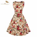 SISHION Women Summer Dress 2017 New Hepburn Style 50s Vintage Dresses Round Neck Sleeveless Floral Print Dress With Belt VD0276