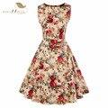 Sishion mulheres summer dress 2017 nova hepburn estilo 50 s do vintage vestidos em torno do pescoço sem mangas floral print dress com cinto vd0276