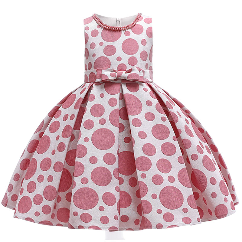 Girl Dress Summer Children Clothing Girl Ball Gown Clothes First Communion Princess Dress Baby Costume Beaded Dot Print Clothes