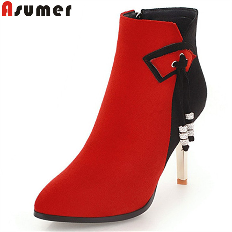 ASUMER black fashion auutmn winter ankle boots pointed toe flock stiletto heels high heels boots rhinestone boots women big size asumer fashion women boots pointed toe zipper flock autumn winter ladies boots black beige gray ankle boots big size 34 44