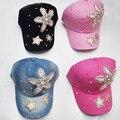 2016 New Sunflower flower Diamond Point denim Blue pink caps women baseball cap girls Hat rhinestone hat For Men Teens