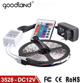 Goodland RGB LED Strip 5M 60Leds/m 3528 SMD Flexible Light LED Tape Party Decoration Lamps DC12V 2A Power Adapter