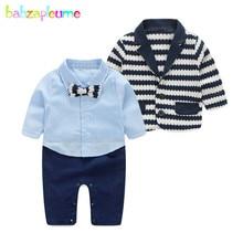 Купить с кэшбэком 2PCS/0-24Months/Spring Autumn Newborn Clothing Sets Stripe Jacket+Gentleman Suit Infant Jumpsuit Baby Outfit Boys Clothes BC1157