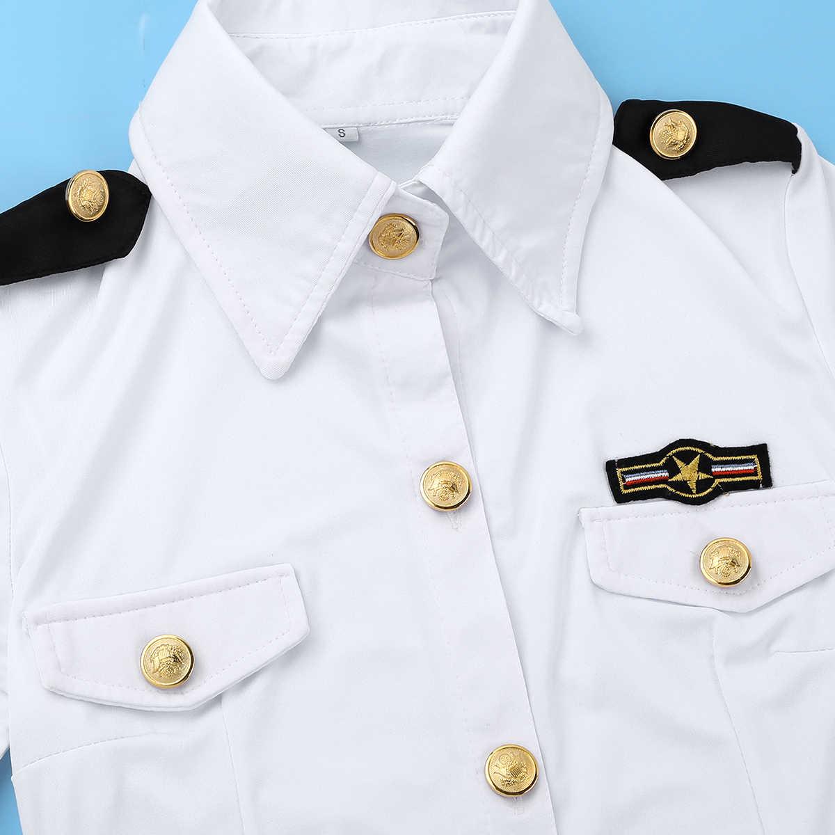 4 قطعة المرأة مثير تأثيري زي الشرطة ضابط قميص موحدة + البسيطة Bodycon تنورة مجموعة الكبار المثيرة شرطي شرطية لعب الأدوار الزي