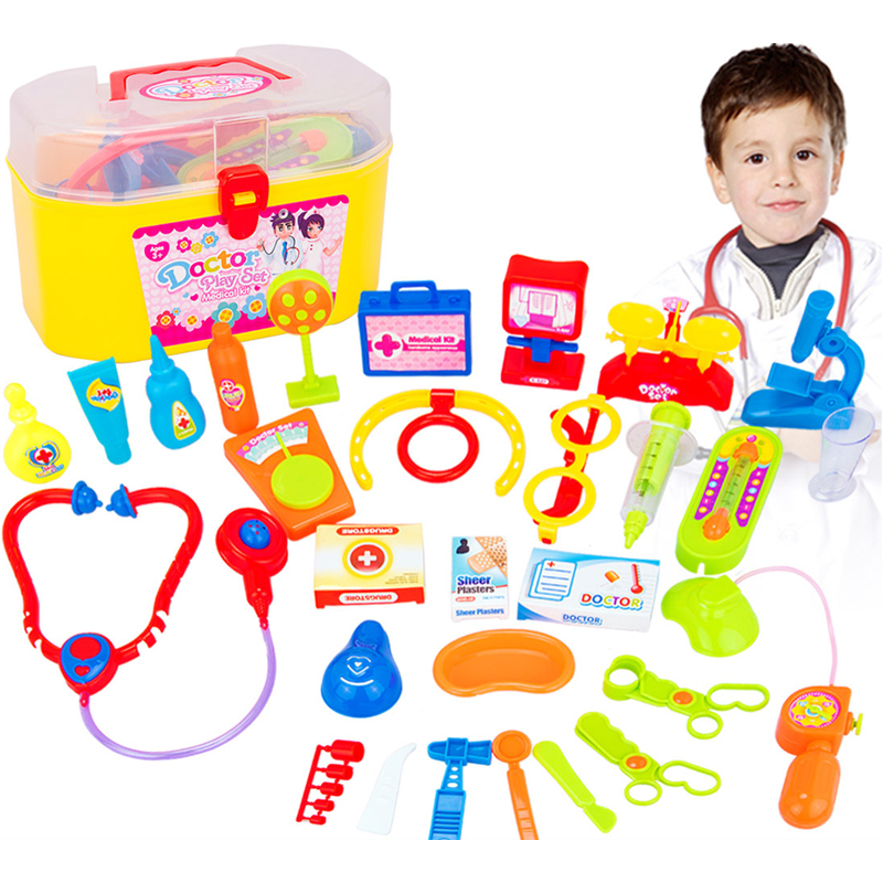 30 pcs/Set Kids Doctor Toys Children Play House Toy Baby Suitcases Medical Kits Cosplay Dentist Nurse Simulation Medicine Box children s fingerprint toy spy detection kit simulation play house toy set kids technology early education toys