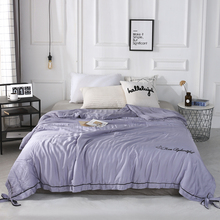 2019 New Solid Purple Butterfly knot Bedspread Summer Quilt Tencel Blanket Comforter Bed Cover Quilting Home Textiles solid gray butterfly knot bedspread summer quilt tencel blanket comforter bed cover quilting home textiles