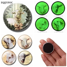 Lovely Goat Fridge Magnet Souvenir Sheep 30 MM Glass Crystal Refrigerator Magnets Whiteboard Magnetic Luminous Message Stickers