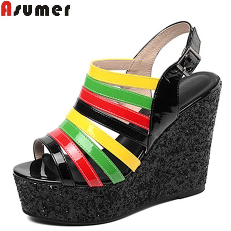 ASUMER Wedges Sandals Platform-Shoes Genuine-Leather Women Peep-Toe New Colour