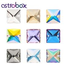 Astrobox – carré magique cousu sur les strass avec deux trous, dos plat, verre K9, pierres de diamant libres, vêtement bricolage, bijoux