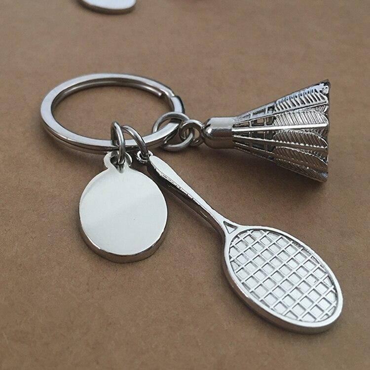 Теннисные ракетки, брелок для ключей, цинковый сплав, мужские и женские ювелирные аксессуары, ракетка для бадминтона, брелки, подарок, логотип на заказ, 3 шт./лот