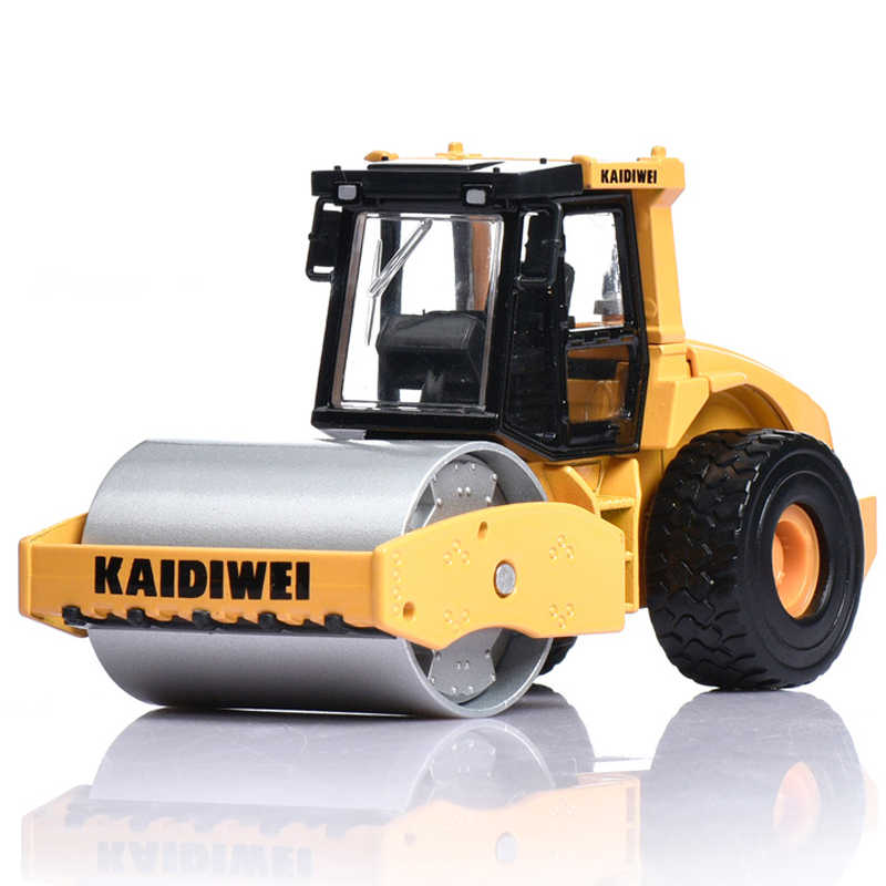 KDW Alloy Diecast Single Steel Wheel Road Roller Truck 1:50 Engineering Vehicle Model Metal Children Hobby Model Toys For Kids