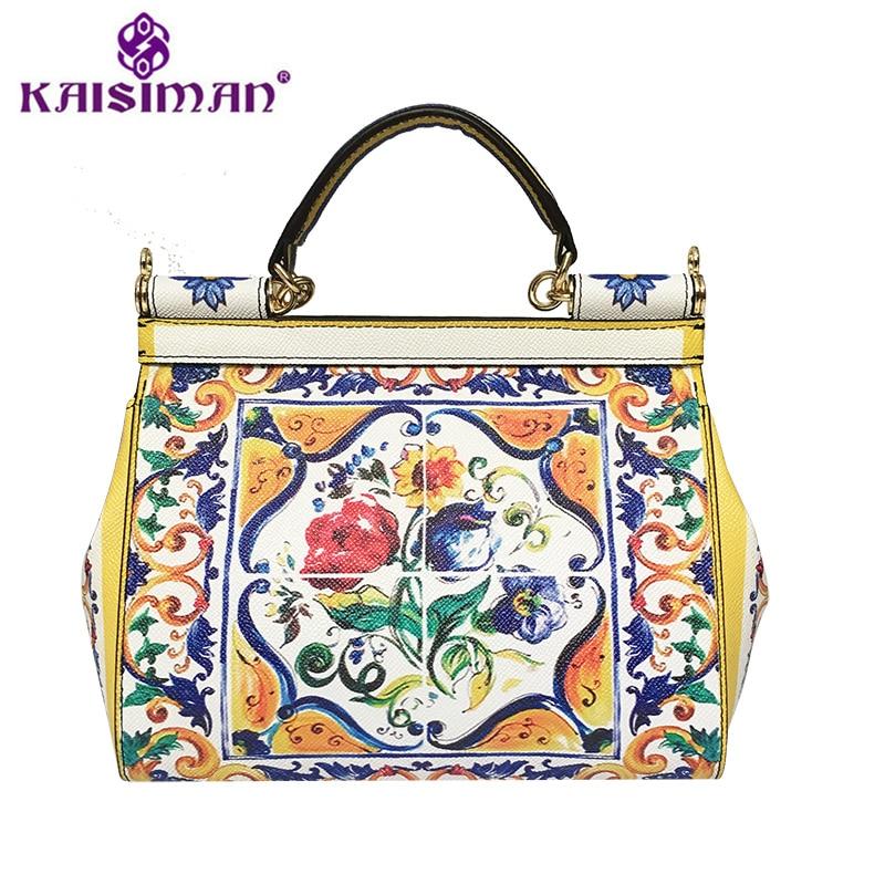Famous Designer Flower Print Painted Tote Shoulder Bag Female Sicilian Vintage Ethnic Style Handbag Genuine Leather Clutch Purse