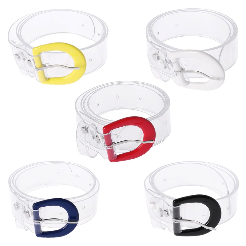 2018 Fashion New Women's Plastic Waist   Belt   Girls Female Transparent Jelly Clear Wide Waistband Colored Buckle Cool High Quality