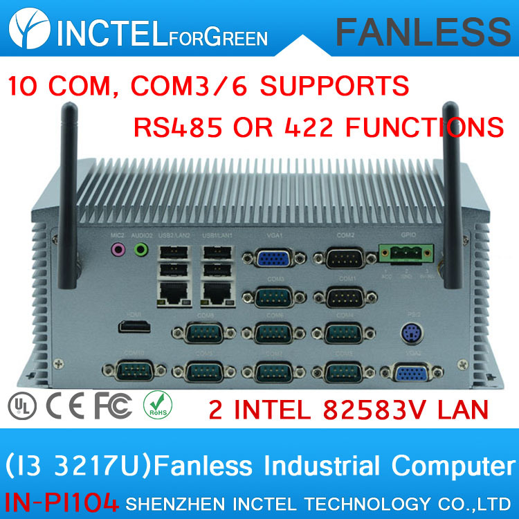 Manufacturers supply Core I3 3217U all aluminum fanless industrial computer IPC with 10 RS232 dual VGA support Watchdog 3G GPIO
