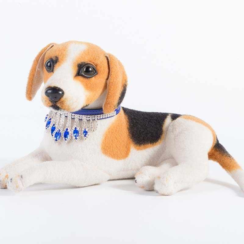 יפה בלינג קריסטל ריינסטון חיות מחמד כלב קולרים לכלבים קטנים יוקרה נסיכת חתונה גבוהה באיכות עור מפוצל שרשרת 20A