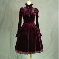 Customer made Red velvet Lolita Dress outwear V 906