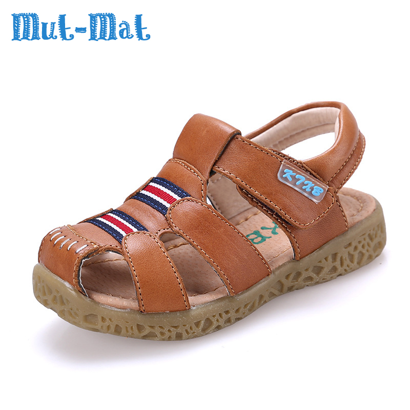 2017Mut Mat New Summer Children s Leather Sandals Breathable Comfortable And Flat With Shoes For Boys And Girls