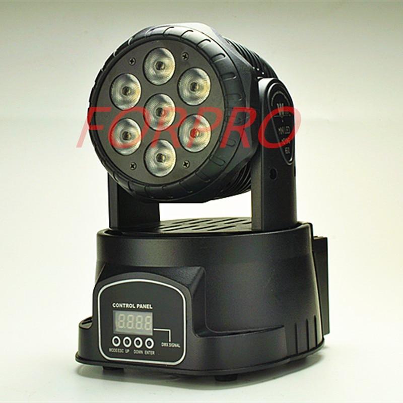 LED Moving Head Mini stage 7x12w RGBW 360 degree Moving Rotating wash light Disco Club DJ party DMX 512 channels US/EU Plug