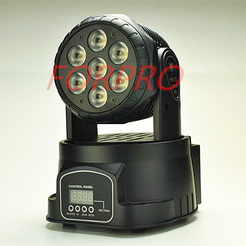 LED Moving Head Mini stage 7x12w RGBW 360 degree Moving Rotating wash light Disco Club DJ party DMX 512 channels US/EU Plug niugul super dj disco lighting 7x12w led mini wash moving head light led beam dmx stage lighting ktv club led lamp chandelier