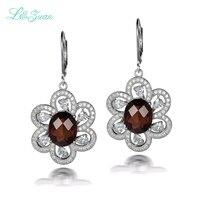 L Zuan 925 Sterling Silver Natrual 6 68ct Smoky Crystal Brown Stone Flower Drop Earring Jewelry