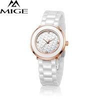 2017 Бесплатная доставка Повседневное модные женские часы белый Керамика ремешок Водонепроницаемый Сапфир Циферблат женский часы кварцевые