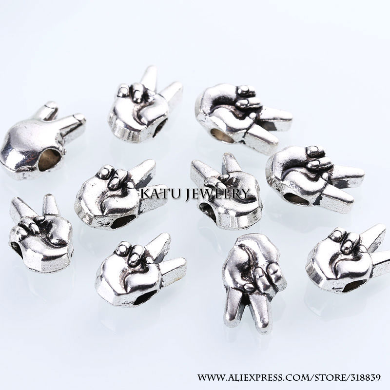 Tibetan Silver Metal Hand Beads Fit Pandora Charms DIY Zinc Alloy Hand Spacer Beads for Jewelry Making 20pcs BC999