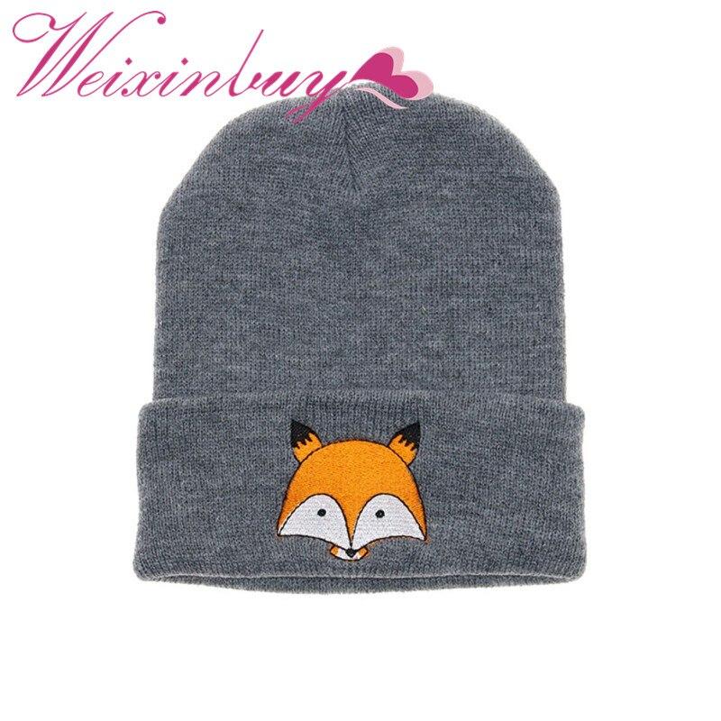 WEIXINBUY Baby Girls Boy Cartoon Fox Embroidery Knit Hat Wool Winter Children's Hat Newborn Boy Hat Baby Photos Accessories