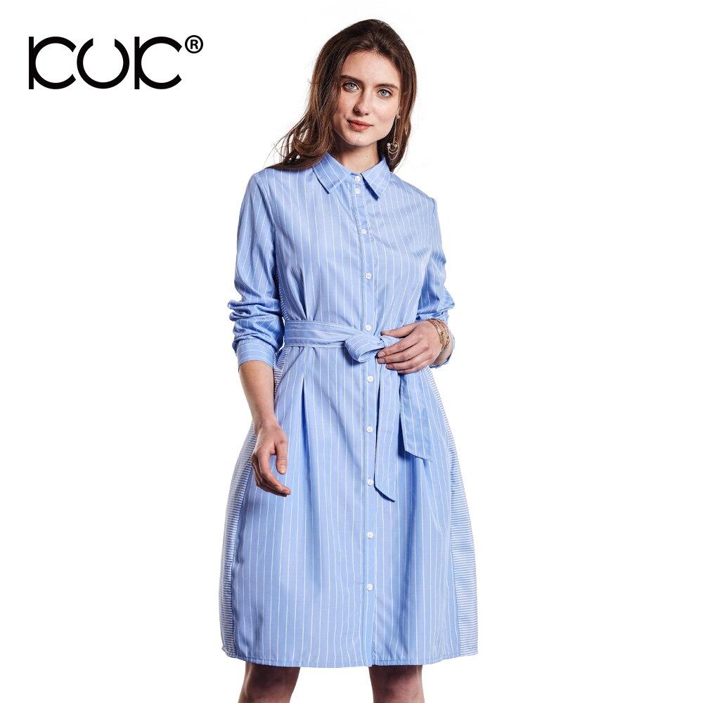 Kuk Shirt Dress Women Long Sleeve Blue Striped Dress Autumn Belt