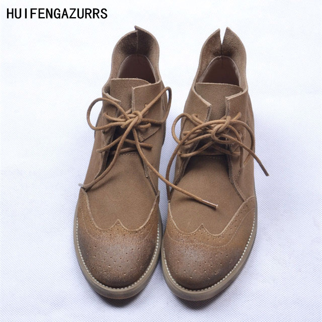 HUIFENGAZURRS 2019 bnew autumn Vintage carved art individuality single boots Genuine leather boots full leather ankle