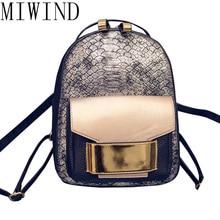 Miwind Новинка 2017 года змея искусственная кожа женщины рюкзак женский Брендовая Дизайнерская обувь мода девушки рюкзаки Симпатичные школьная сумка TTZ523