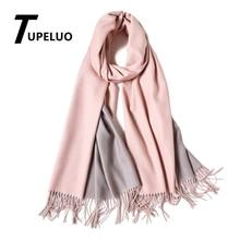 Шарф в двух цветах, зимний шарф для женщин, толстые теплые шали и палантины, однотонные кашемировые шарфы, двухсторонние удобные кисточки из пашмины
