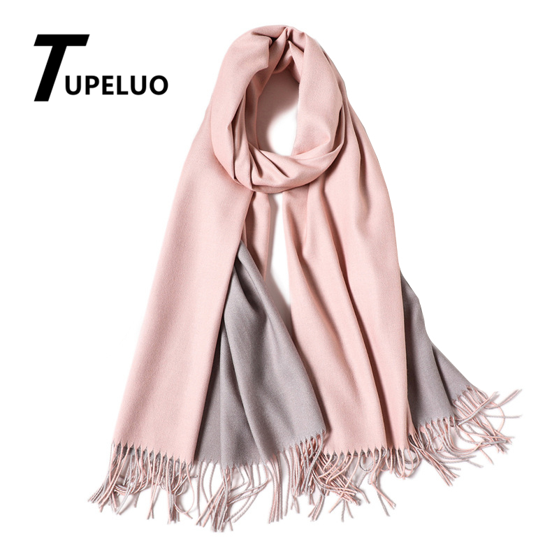 A   Scarf   In Two Colors Winter   Scarf   Women Thick Warm Shawls and   Wraps   Solid Cashmere   Scarves   Two-sided Usable Tassels Pashmina