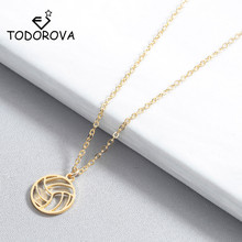 Todorova Small Circle Round Volleyball Pendant Necklace for Women Men Jewelry Sport Charm Volley Ball Sports Fan Gifts