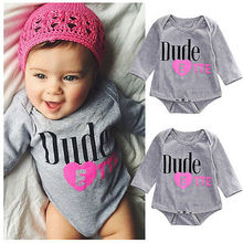 Newborn Baby Girls Cotton Letter Printing Long Sleeve Heart Bodysuit Jumpsuit Outfits Clothes