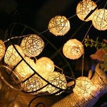 5m Bola de ratán LED Cadena de luz 40 LEDs RGB LED mimbre Vintage Sepak Takraw lámpara de bola para Navidad boda Año Nuevo AA batería