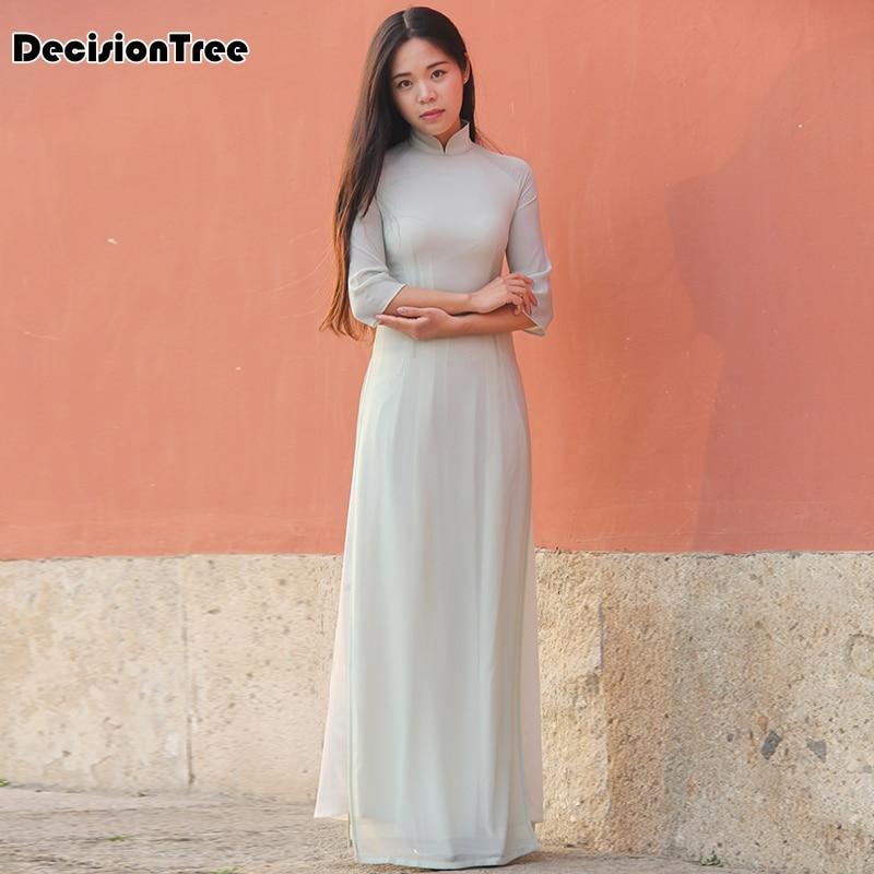 2019 Ao Dai Japanese Japanese Cotton Women Ao Dai Yukata High End Vietnam Aodai Cheongsam Dress