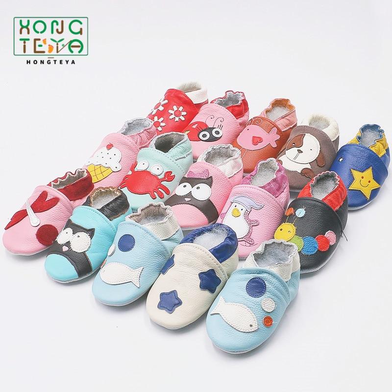 Нескользящая детская обувь из мягкой натуральной кожи, обувь для маленьких мальчиков и девочек, тапочки для малышей 0-6 6-12 12-18 18-24, обувь для п...
