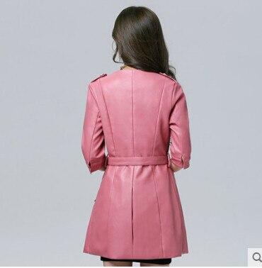Длинная кожаная куртка женская мода Осень Зима Натуральная& Искусственная Jaqueta de couro feminina jaqueta couro мотоциклетное пальто A0317
