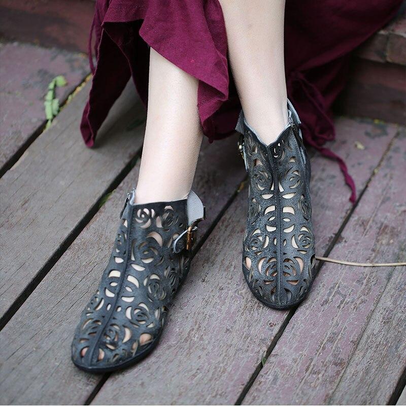 VALLU 2019 zapatos hechos a mano de verano para mujer botas de tobillo de cuero genuino con hebilla plana Cool botas talla grande 42-in Botas hasta el tobillo from zapatos    2